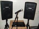 Picture of Amplifier, Speakers and Microphone available for rent or hire.