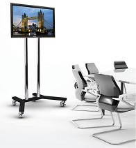 Picture of a Plasma TV Rental on an Eye Level Trolley Stand. When at the top of the stand, the screen top is about 2m from the floor. Ideal for a seated audience.