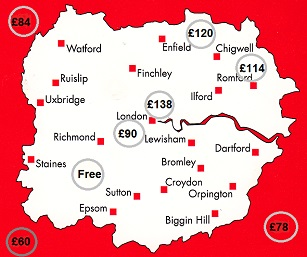 Map of the London Area that we rent hire equipment in.
